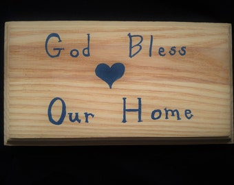 God Bless Our Home sign, God Bless sign, Housewarming sign, Christian home, Housewarming gift, Christian home decor, hand painted sign