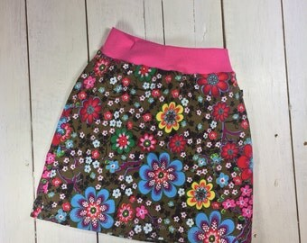 "Gr. 122/128 Rock ""colorful flowers"" made of cotton jersey in size 122 / 128 pink, floral, flower"