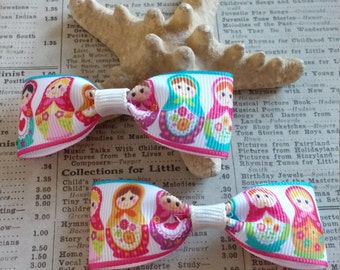 Russian Dolls Hair Bows, Girls Hair Bows, Party Favors, Stocking Stuffers