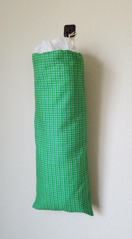 Plastic bag keeper - Green Picnic Plaid Grocery Bag Holder Plastic Bag Holder Grocery Bag Keeper Plastic Bag Keeper Organizer