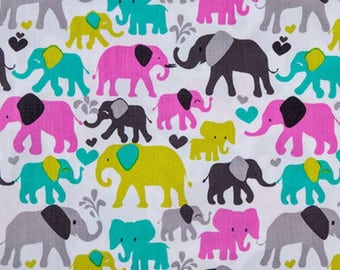 Elephant Fabric, Michael Miller Orchid Elephant Walk, Fabric by the Yard, By the Half Yard, Quilting Fabric, Apparel Fabric, Baby Fabric
