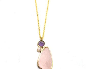 Gaea Necklace - Gold - Rose Quartz