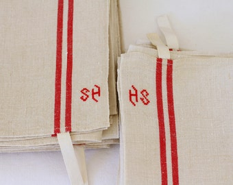 French linen mongrammed 'SH' or 'HS' torchon teatowels