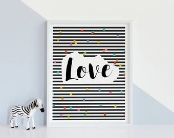 Love wall art, StudioM,Printable art love, love art, scandinavian art, love poster,black white, Love print, wedding gift, Affiche Scandinave