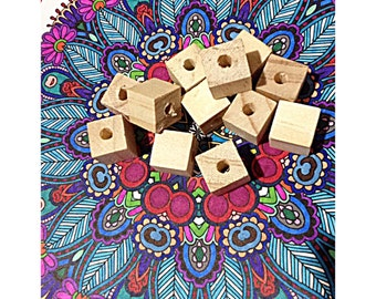 20 Pack 1.5cm Square Wood Beads