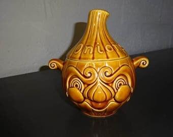 Sadler Brown Onion Face Pot with Lid/Vintage/ 1960s