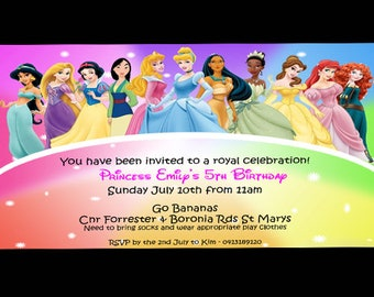 Disney Princess Invitations/ Princess Disney 4 x 6 Birthday Invitation