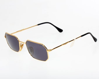 Cool Police octagonal sunglasses, very light golden metal frames with carved brand details, black temple tips, Made in Italy, NOS