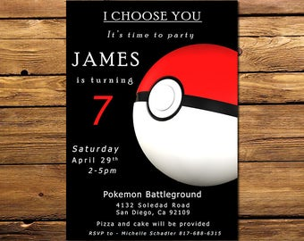 Pokemon invitation, Pokemon birthday invitation, Pokemon invitations, Pokemon Invite, Black