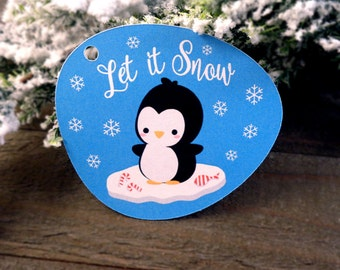 Kawaii Penguin Gift Tags Cute Let it Snow Christmas Holiday Paper Tags