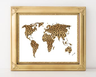 Cheetah Map Art - Leopard World Map Printable 10x8 7x5 Home Decor Map Decor Modern World Map Wall Art - Continent Silhouette Print