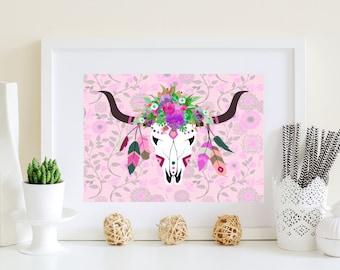 Purple deer art, Floral purple deer, Printable deer art, Abstract deer art, violet deer art, deer download, deer poster, purple deer skull