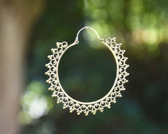 brass earrings giant hoops gypsy style boucles d'oreille laiton sunny hoop soleil