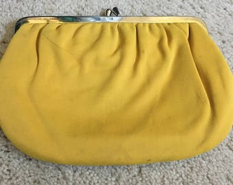 Vintage yellow soft clutch