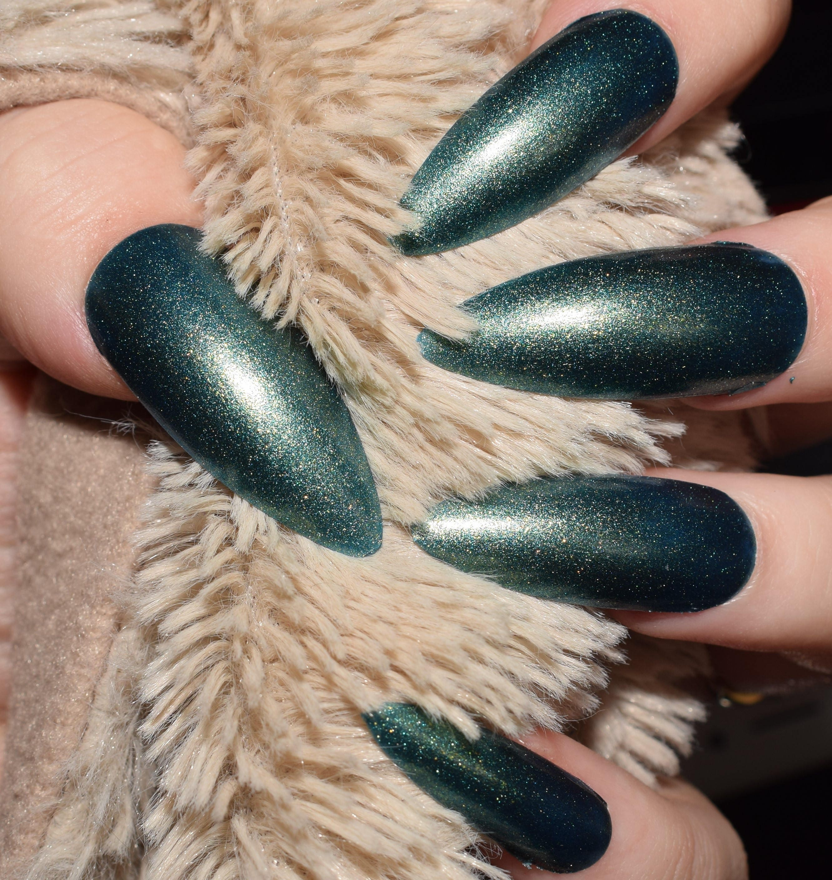 Green Blue Gold Fake Nails, Extra Long Stiletto False Nails, Hand ...