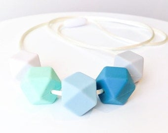 SALE - LUCAS Silicone Teething Necklace – Grey, Deep Ocean, Blue, Mint & White Hexagon