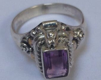 Beautiful Sterling Silver Genuine Amethyst Poison Ring, Sterling Silver ring size 6, 925 Silver Ring, Silver Poison Ring