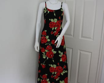 Vintage Laura Ashley red & black maxi dress, 1990's long evening gown, party dress, prom dress, bridesmaid dress, valentines day