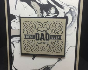 Father's Day Card, Best Dad Ever Card, Handmade Card, Masculine Card, Black and Beige Card, Stampin' Up! Designs