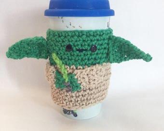 Star Wars cup cozy sale! Yoda, r2d2, princess leila, c3po, chewbaca set! Yoda cup cozy, crochet cup cozy