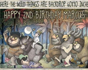 "Where the wild things are 60""x40"" Inch-Where the wild things are Invitation-Where Birthday Party-Where the wild things are Digital Download"