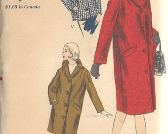 """1963 Vintage VOGUE Sewing Pattern CHESTERFIELD COAT B34"""" (1539)"""