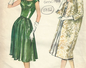 1958 Vintage VOGUE Sewing Pattern B32 DRESS & COAT (1752)