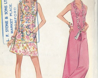 1970 Vintage Sewing Pattern B34 JUMPSUIT & DRESS (R676)  By McCall's 2442