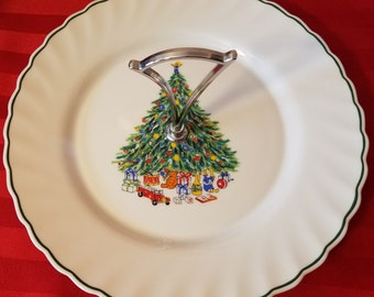 Noel by House of Salem Porcelle Christmas Platter with Handle Holiday Cookie Plate Tray Appetizer Plate Made in France