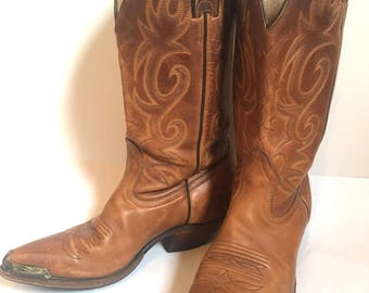boho 70'sVintage brown leather women's cowboy boots size 8.5