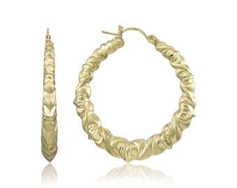 10K Yellow Gold Round Hugs & Kisses OX XO Hoop Earrings - Heart Huggie