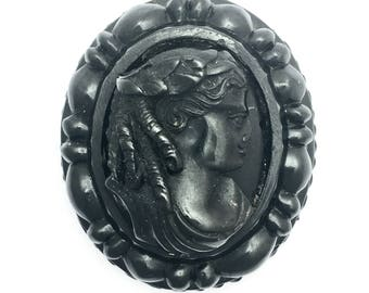 Large Antique Victorian Carved Whitby Jet Cameo Pendant