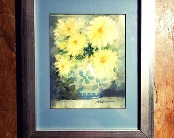 Signed Watercolor Painting by Armando Melessio Rivas, Yellow Flowers, Mexican Art, Modern art, Original art, Watercolor painting