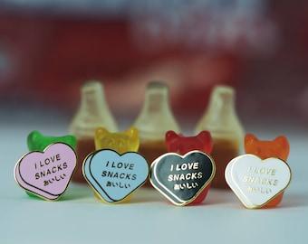 I Love Snacks - Lapel Pin - Hard Enamel - Pink, White, Blue, Black