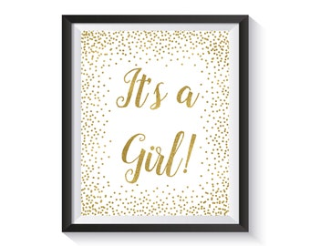 It's A Girl Sign Printable, Gender reveal sign, Gold confetti Baby Shower Décor, Baby Shower Decorations, Its A Girl Baby Shower Party Sign