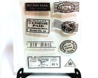 Postal Airmail Stamp, Postage Clear Transparent Stamp, Airmail Par Avion Rubber Stamp, Planner Journal Accessories, Vintage Postage Stamp