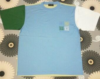 Rare vintage authentic YSL Yves Saint Laurent colorblok patchwork t shirt size L