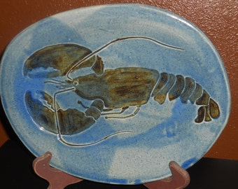 Vintage Lobster Platter - Large Serving Platter - Pottery Platter - Lobster Plate - Seafood Platter - Marked Platter