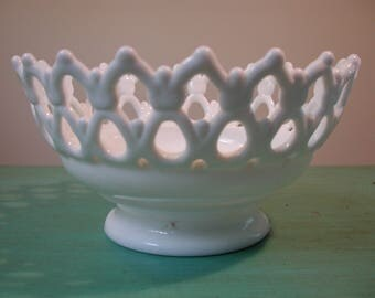 Vintage Milk Glass (Lattice/Open Weave) Footed Bowl
