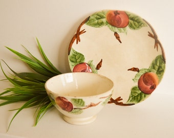 Rare French Majolica Set, Peach Bowl & Plate, Late 1800s Pottery, Apple and Vine Motif, Peaches Majolica, Fathers Day Gift, Birthday Gift