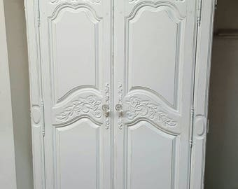 Shabby chic Armoire white distressed cottage chic glam linen closet
