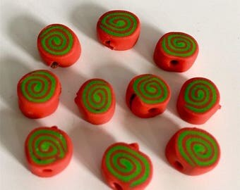 10 Orange & Green Halloween Spiral Coin Beads Handmade Polymer Clay Unique