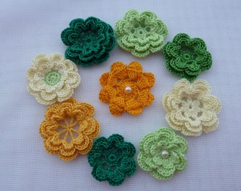 9pcs crochet flowers/flowers for headband/flowers for sewing/flowers for scrapbooking
