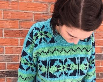 Vintage Turquoise Ski Sweater