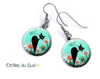 Black Cat silhouette earrings Silverplated surgical steel hooks, ref.37