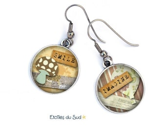 Scrapbooking, resin, surgical steel hooks, ref.151 cabochon earrings