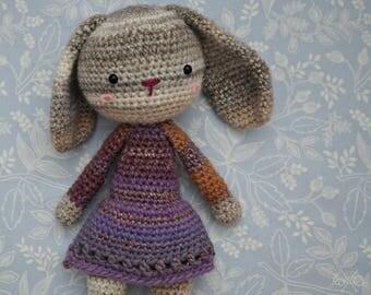 Purple shimmer amigurumi bunny - Handmade crochet rabbit