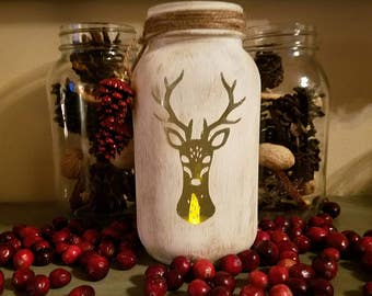 Deer Mason Jar Luminary, Reindeer stenciled, Handpainted with Antique Wax