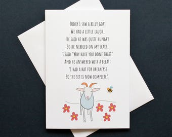 Funny goat card, funny goat poem, billy goat card, billy goat poem, eating everything poem, humorous goat card