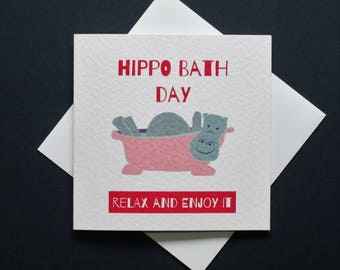 Hippo bath day, hippo bathday card, pink hippo card, purple hippo card
